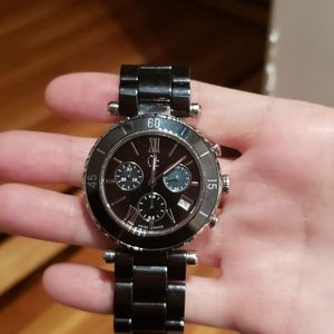 Gc Black Ceramic Chronograph Watch